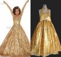 Wholesale New Model Dresses For Kids - New Halter Glitz girls Pageant Dresses for teen Sequins Lace Gold kids Ball gown Beads Party prom cheap Dresses