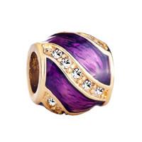 perlas de huevo faberge al por mayor-Joyas personalizadas de estilo europeo Faberge huevo mano esmaltado abalorio de cristal encantos de la suerte se adapta a Pandora charm bracelet