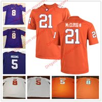 T-shirts D'université Pas Cher-Clemson Tigers # 3 Amari Rodgers 5 T-shirts Higgins 8 Deon Cain 21 Ray-Ray McCloud III Violet blanc Orange cousu College Football Maillots S-3XL