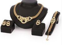 Wholesale Vintage Diamond Bracelets - Jewelry Sets Collar Statement Necklace Earrings Bracelet Rings For Women CZ Diamond Vintage Party Accessories