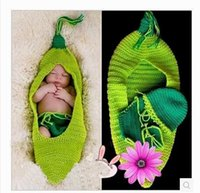 Wholesale Baby Pea Costume - 2014Cute Baby Infant Pea Sleeping Bag Shorts Costume Photo Photography Prop Newborn