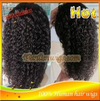 Wholesale Stocking For Body - Stock 7A New Arrival Brazilian Virgin Remy Human Hair Kinky Curyl African American Glueless Full Lace Wig Front Lace Wig For Black Women