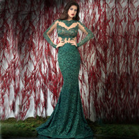 Wholesale Sexy Tranparent - Lace Long Sleeve Evening Dresses Long Boat Neck Tranparent waist Fishtail Dark Gren Mermaid Evening Gown Party Prom Dreses E11123