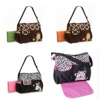 Wholesale Cute Baby Diaper Bags - 4 Styless Animal Diaper Bags Cute Zebra Strength Giraffe Mummy Bags Babyboom High Capacity Multifunction Bags Baby Nappy Bag CCA8028 5pcs