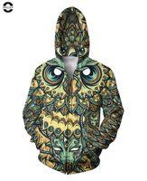 Wholesale Women Owl Hoodie - w1215 OPCOLV unisex winter autum brand 3d zipper sweatshirt print ovo owl hoodies fashion women men street hip hop crewneck sudaderas