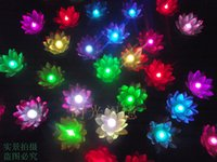 Wholesale floating flowers supplies - Led Artificial Lotus Flower Colorful Changed Floating Water Flower Swimming Pool Wishing Light Lamps Lanterns Party Supply Decorative
