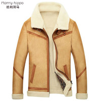 Wholesale Leather Hippo - Fall-Harry hippo Large Fur Collar, Fur Cashmere Leather Jacket MenCultivating Warm Comfortable Fleece Jacket Hair Hunting Coat ME0003