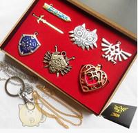Wholesale Zelda Sword Keychain - Wholesale-6pcs Legend of Zelda Link Shield Links Sword Necklace Pendant keychain chain New with gift box