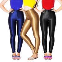 Wholesale Plus size retail Womens High Waisted Footless Leggings Tights Shiny Disco Pants