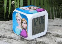 Wholesale Night Glow Clock - 5pcs Retail And Wholesale New LED 7 Colors Change Digital Alarm Clock frozen Anna and Elsa Night Colorful Glowing toys