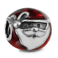 Wholesale Glass Beads Santa - Jolly Santa Red & White Enamel 100% 925 Sterling Silver Beads Fit Pandora Charms Bracelet Authentic DIY Fashion Jewelry