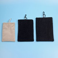 Wholesale Soft Black Velvet Pouch - Waterproof Pouches Carrying Bags Soft Black Grey Gray Packing Package Drawstring Velvet Flannelette Sleeve Cases for Cell Phone iPhone DHL