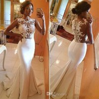 pinceles al por mayor-Arabia Saudita Estilo Sirena Vestidos de noche Apliques Sheer Lace Brush Tren Vestido de fiesta formal Vestidos de celebridad Vestido de dama de honor 2016