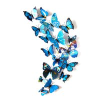 Wholesale Blue Metal Wall Art - 2018 New 3D color simulation butterfly creative stereo wall stickers, blue Bedroom living room Decorating 12 magnet decorative stickers