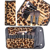 Wholesale Leopard Makeup Kit - Hot Sale 12Pcs set Pro Bamboo Handle Makeup Brushes Kabuki Powder Foundation Eyeshadow Lip blusher Cosmetic Makeup Tools with Leopard Case