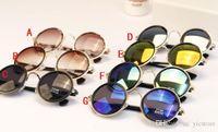 güneş gözlüğü fedex toptan satış-5201 erkekler kadınlar retro yuvarlak gözlük renkli güneş gözlüğü güneş gözlüğü güneş gözlüğü toptan metal levha fedex / dhl ücretsiz kargo