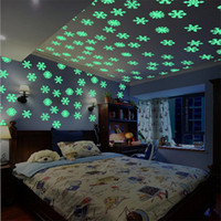 Wholesale snowflake wall art - 50 Pieces  Lot Snowflake Wall Stickers Decal Glow In The Dark Baby Kids Bedroom Home Decor Color Luminous Fluorescent Wall Stickers Decal