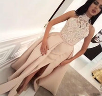 Wholesale images gatsby dresses resale online - Arabic Evening Dresses Long Crystal Beaded High Neck Illusion Side Split Champagne Carpet Celebrity Dresses Party Great Gatsby Gowns