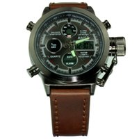 Wholesale Quartz Canvas Watch - New Arriva AMST Unique Vogue Men Swimming Digital LCD Quartz Outdoor Sports Watches Relogio Masculino Clock Handmade Leather Canvas Strap