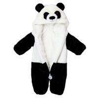 Wholesale Cute Babies Panda Costume - 2017 Infant Romper Baby Boys Girls Jumpsuit New born Kids Clothing Hooded Toddler Baby Clothes Cute Panda Romper Photo Costumes