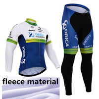 Wholesale Orica Winter - 2015 orica greenedge Team winter Fleece Ropa Ciclismo long sleeve Cycling jersey+(bib) Pants Set winter thermal fleece cycling clothing