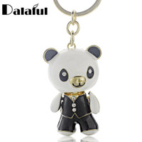 Barato Saco De Cristal Panda-Beijia Cute Enamel Panda Crystal Lovely Bag Pendant Key Chains Holder Keyrings Keychains para jóias de moda de carro K185