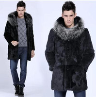 Wholesale Sexy Man Handsome - Fall-Handsome Men Fur Coat Long Cloth Winter Warm Casual Hooded Sexy Cool Faux Rabbit Fur Overcoat Brief Fur Collar Outerwear YY1021