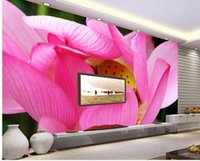 Personnalisé photo fond d'écran Grand fond d'écran mural 3D murale canapé TV simple lotus rose 3d murale papier peint 20158813