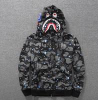 Wholesale Luminous Long Sleeve - sweater luminous Star Shark long-sleeved hooded jacket hip-hop men's sweater cardigan hoodies sports and leisure street hoodies