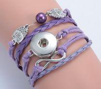 bouton pression violet achat en gros de-pourpre hibou perle Infinity noosa bouton diy bracelet alliage pu leater tissé à la main bouton pression bracelet diy jelwery DIY accessoires 10pcs