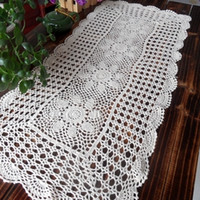 Wholesale Cotton Square Crochet Tablecloth - Free shipping cotton crochet tablecloth table cover towel for coffee table cutout rustic decoration towel cover table cloth