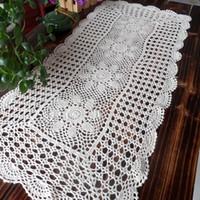 ingrosso uncinetto-Spedizione gratuita tovaglia di cotone tovaglia tovaglietta copertura per tavolino ritaglio rustico decorazione asciugamano tovaglia