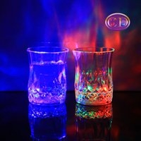Wholesale Shot Glasses Cups - 24pcs lot LED party drinking glasses Drinkware Flashing Small LED shot Cup flashing cola cups Bar supplies