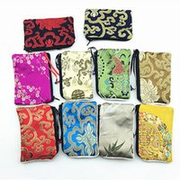 Wholesale Cute Zip Wallets - Small Bells Zip Bags Women Wedding Party Favor Reusable Silk brocade Small Storage Pouch Cute Coin Purse Wallet Bag Credit Card Holder
