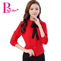 Wholesale Korean Formal Woman Shirt - Women Bow Tie Blouse New Fashion 2016 Autumn Long Sleeve Women Shirt Korean Style Fashion Clothing Casual Women Chiffon Tops
