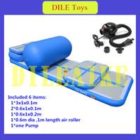 rodillos de gimnasio al por mayor-Envío gratuito de un conjunto (4 pistas de aire + 1 rodillo + 1 bomba) pista de aire inflable, colchonetas inflables de gimnasio inflable pista de caída