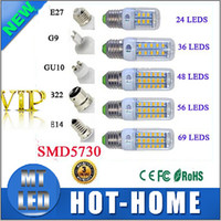 Wholesale E27 21w - x5 SMD5730 72LED E14 E27 GU10 g9 7W 12W 15W 18W 20w 30W AC 110V 220V 360 angle LED Corn Bulb light Chandelier 24LED 36LED 48LED 56LED 69LEDS