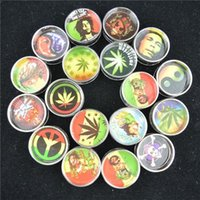 Wholesale Leaf Grinder - Mini Metal Grinder 24 Pcs lot BOB MARLEY & LEAF RASTA Herb Grinder 2 Parts 30mm Smoking Grinder Mix Design Color Hard Grinders Tobacco