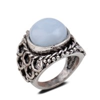 Wholesale Blue Jade Band - Wholesale-Free Shipping Wholesale And Retail Circle Light Blue Jade Gem Retro Silver Filled Lady Ring Jewelry #6.5, 8, 9