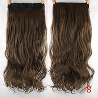 ingrosso clip di capelli biondi pezzo-2017 60 centimetri lungo ondulato marrone per capelli biondi donne alta tempreture sintetica ombre capelli pezzo 5 Clip nelle estensioni dei capelli