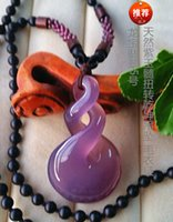 Wholesale Hearts Things - Natural AAA ice light purple Chalcedony pervious hand-carved ice kind of to turn things around pendant necklace