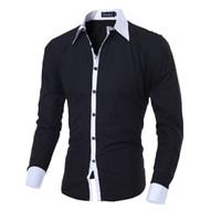 botón de camisa de manga larga negro al por mayor-Camisa de los hombres Negro Blanco 2017 camisas de manga larga Hombre sólido ocasional multi-botón del color del golpe delgado ajuste vestido camisas M-2XL