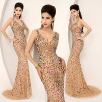 Wholesale Real Diamond Prom Dresses - Amazing Luxury 100% Real Image Crystal Pageant Prom Dresses Beads Diamond V Neck Sheath Evening Celebrity Gowns 2015 Gorgeous In Stock