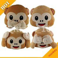 Wholesale Wholesale Hot Monkey - 20PCS LJJH934 New Hot emoji pillows Don't look don't listen to don't talk monkey Cartoon
