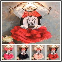 Wholesale Kids Minnie Mouse Outfit - Retail Kids Summer Dress Princess Party Dresses Children Baby Girls Cartoon Mickey Dress Minnie Mouse Clothing Set Kids Clothes Outfits 2PCS