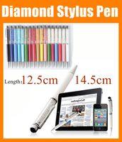 Wholesale Laptop Rhinestones - Luxury Diamond Stylus Pen and Ball Point Pen Capacitive touch screen pen 12.5cm 14.5cm Rhinestone for Tablet PC ipad mini air laptop STY007