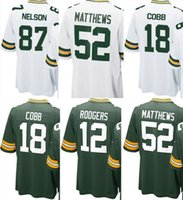 2017 Bianco Verde New Youth Kids jersey Packer # 12 Aaron Rodgers 52 Clay Matthews 18 Randall Cobb 87 Jordy Nelson maglie