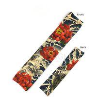 Wholesale Wholesale Fishing Gloves - Wholesale-Fake Temporary Tattoo Sleeves Body Cloth Arm Art Stretch Japan Carp Fish Flower