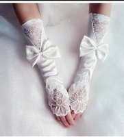 Wholesale Ivory Elbow Length Wedding Gloves - 2016 In Stock Bridal Gloves Below Elbow Length No Finger Women Wedding Accessories Lace Appliques Ivory Soft Satin Sheer Long Bridal Gloves
