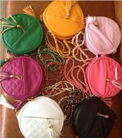 Wholesale Round Peach - 8 Colors Girls Ladies Mini Bag with Tassels Pendant Round Bag Fashion Leisure Quilting Bag Girls Casaul PU Handbags